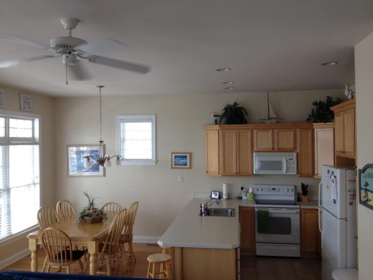Fully stocked kitchen.  Dining area includes seating for 11.