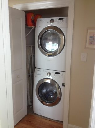 A full-size high efficiency washer and dryer mean you can pack less clothing