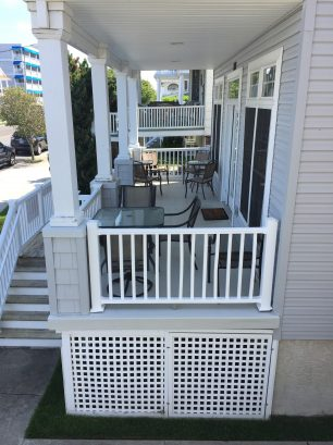 The Large Front Porch looks out onto a quite street and is a great place to relax.