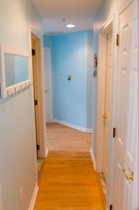 Hall leading from living room to bedrooms