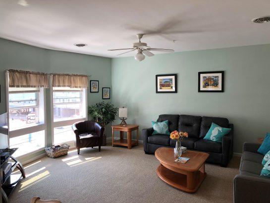 Spacious living area with queen sofa sleeper.