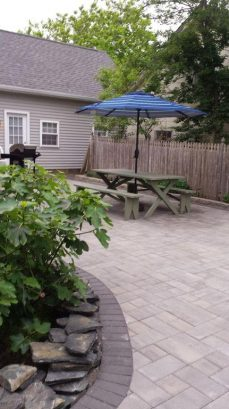 New paved backyard picnic area