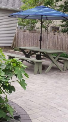 Picnic table and umbrella in backyard.