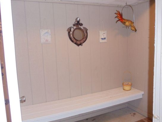 Enclosed Shower Area with Bench and Room to Dress