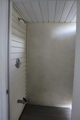 Private outside shower off of garage!!!