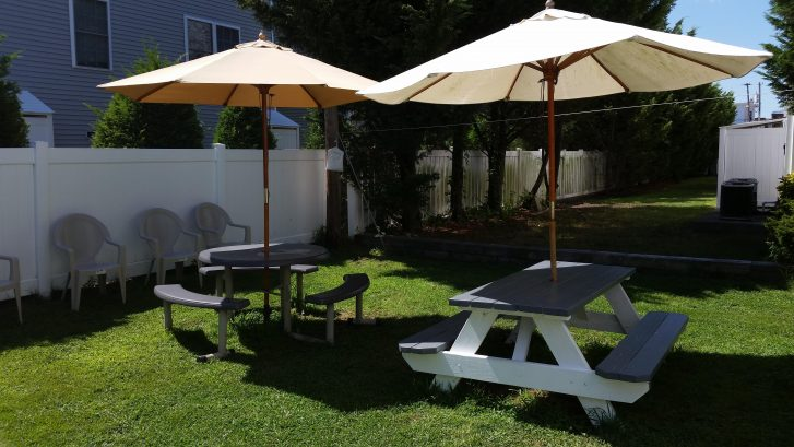 Picnic Tables in Backyard