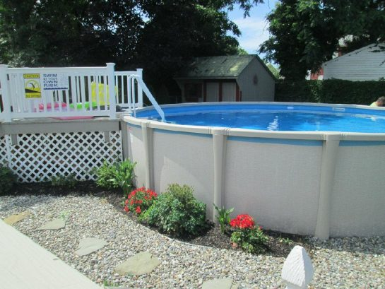 21 Ft pool with steps and pool deck
