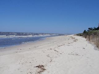 This is the bay beach at the end of the block