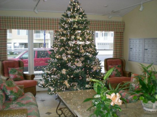 Welcoming Main Lobby at Christmas time. We are a Year Round Resort