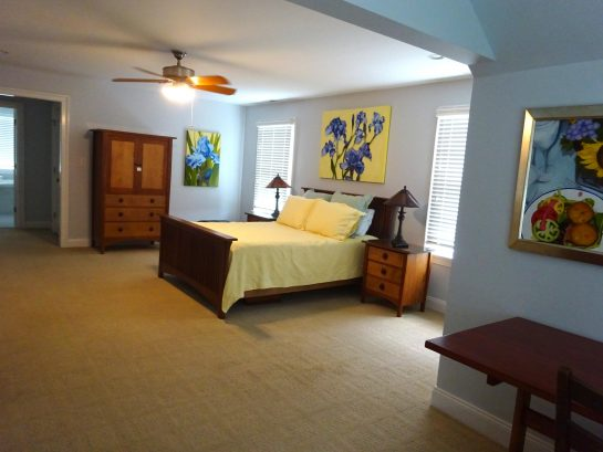 """Master Suite with 48"""" flatscreen and sofabed niche."""