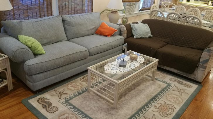 Plenty of seating space and love seat is a sofa bed!