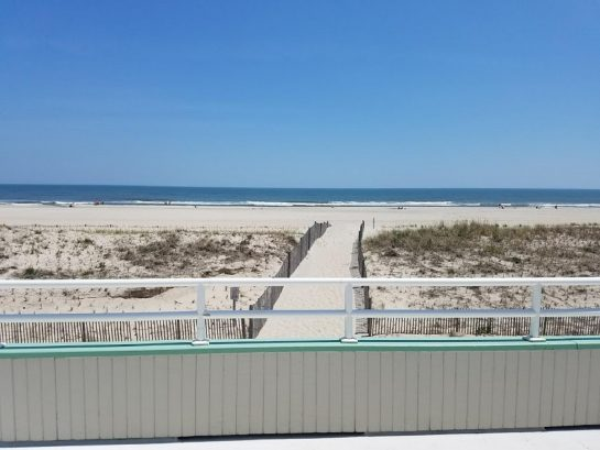 The view of the beach from the 2nd floor porch
