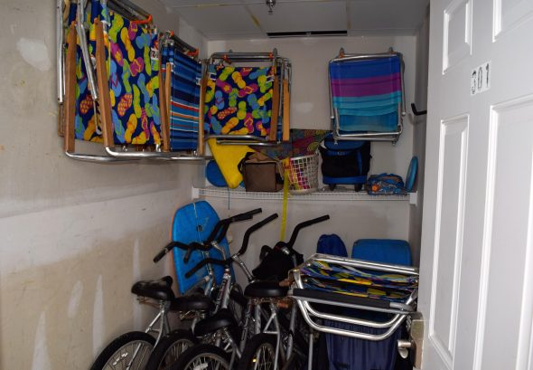 OUR STORAGE CLOSET WITH BEACH EQUIPMENT/BIKES