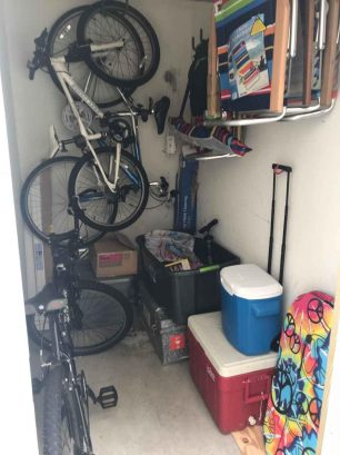Storage shed with beach chairs, umbrella, coolers and bicycles for your use