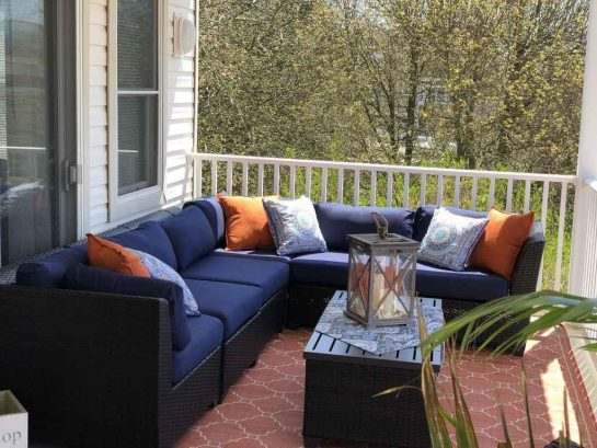 Comfortable seating on covered deck; rain, sun, no problem here!