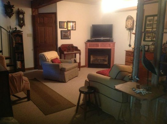 Living Room with pull out couch, HDTV flat screens and full cable and wifi