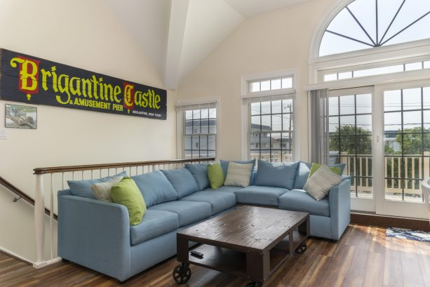 2nd Floor great room features one of a kind Brigantine art