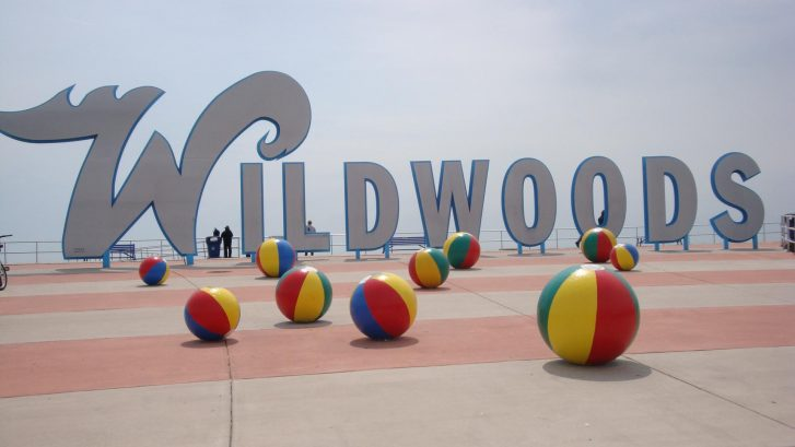The Wildwoods iconic sign on the boarwalk.