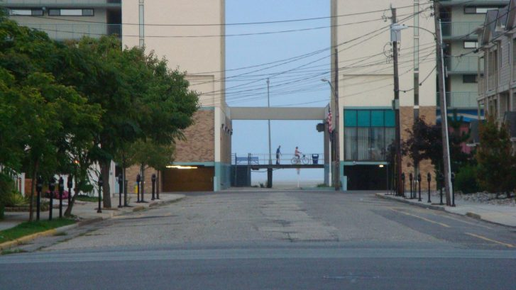 A view of the boardwalk and beach - 1-1/2 blocks from our front door.