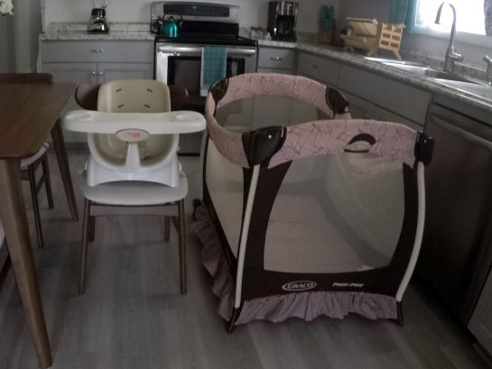 High chair & Pack n Play available upon request