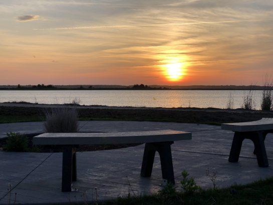sunset over bay 3 blocks away