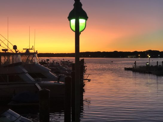 sunset at Marina Grille