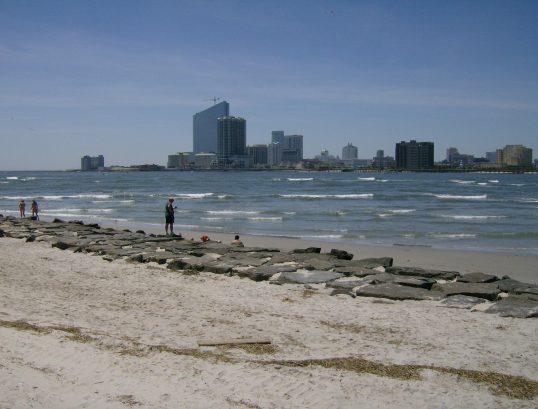 Beach and rock jetty