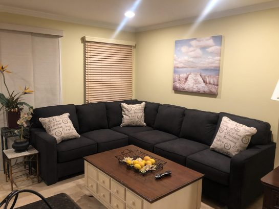Living room with new cozy sectional